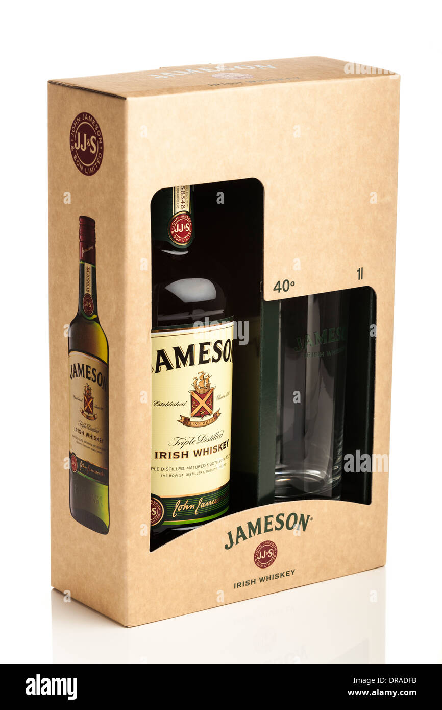 Jameson Irish whiskey gift pack including tumbler glass in box. Still life studio photograph on white background