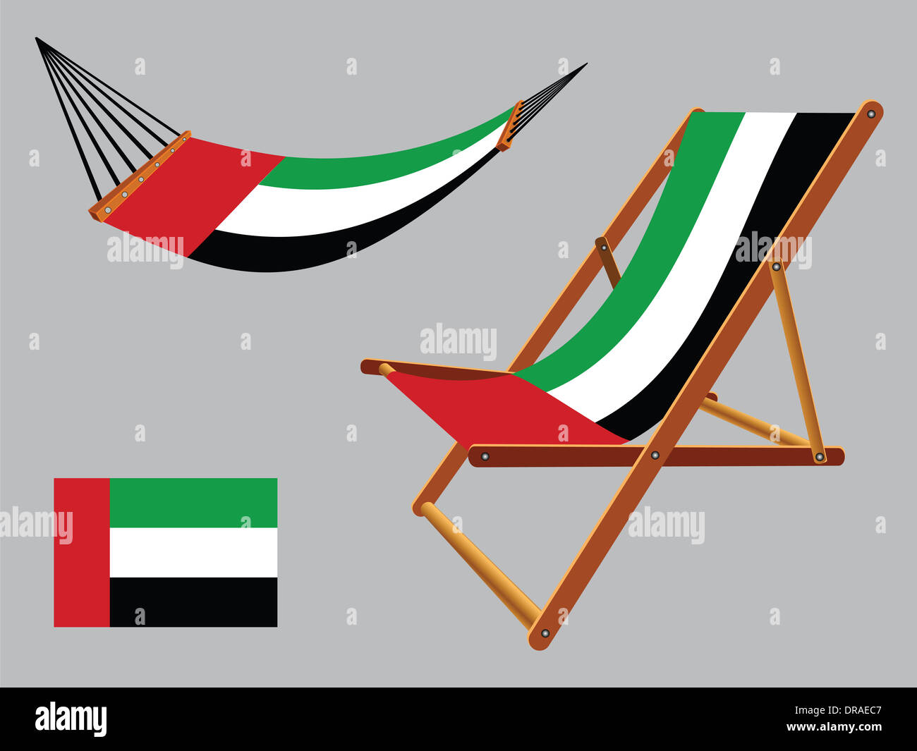 United Arab Emirates Hammock And Deck Chair Set Against Gray