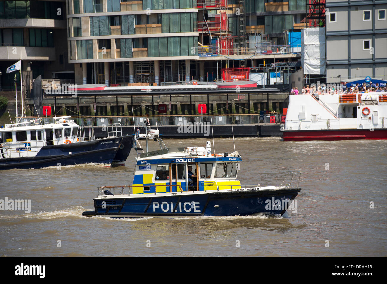 Boat of the Marine Policing Unit on the River Thames, London, England. - Stock Image