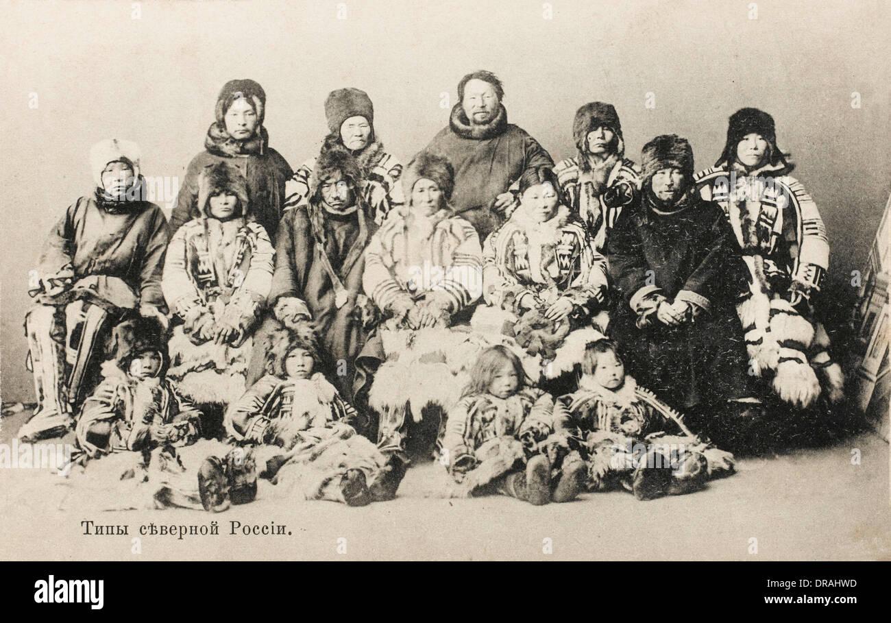 Samoyedic people in group photo, Russia - Stock Image