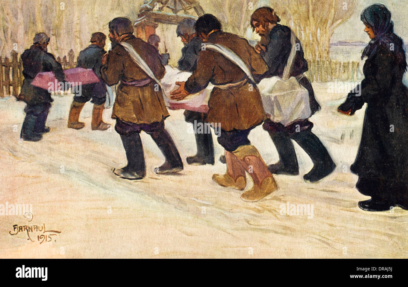 Burial in a Russian village - Stock Image
