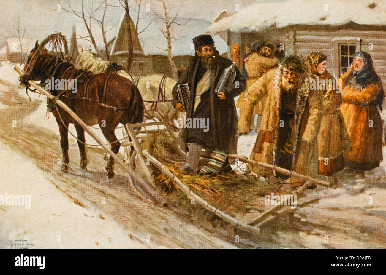 Russian peasants going to a drinking bout - Stock Image