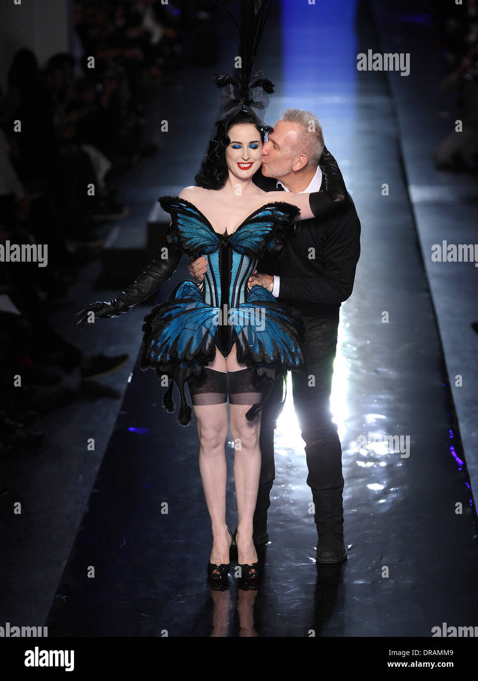 Paris, France. 22nd Jan, 2014. US singer and performer Dita Von Tese (L) and French designer Jean Paul Gaultier - Stock Image