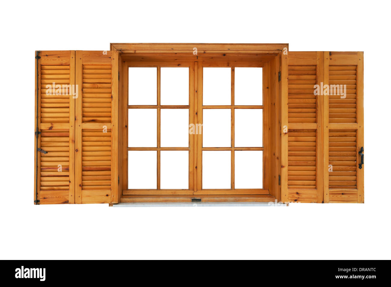 Wooden window with shutters opened exterior side isolated on white background - Stock Image