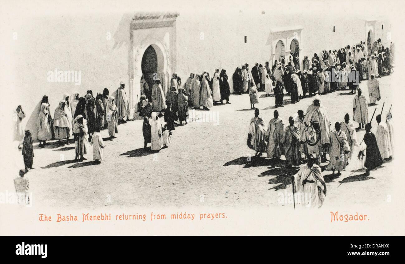 Basha Menebhi returning from midday prayers - Stock Image