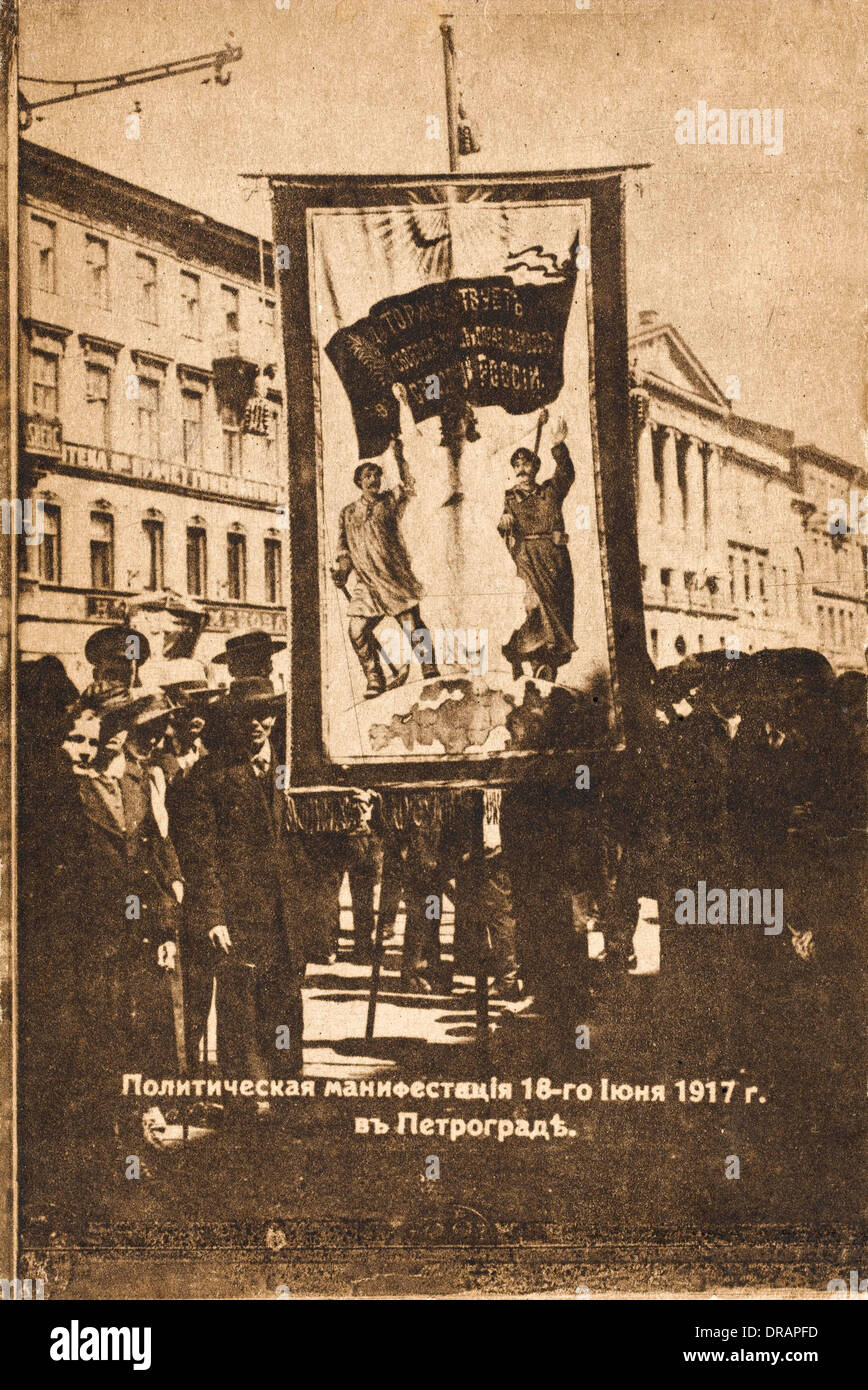 Political demonstration in Petrograd - Stock Image