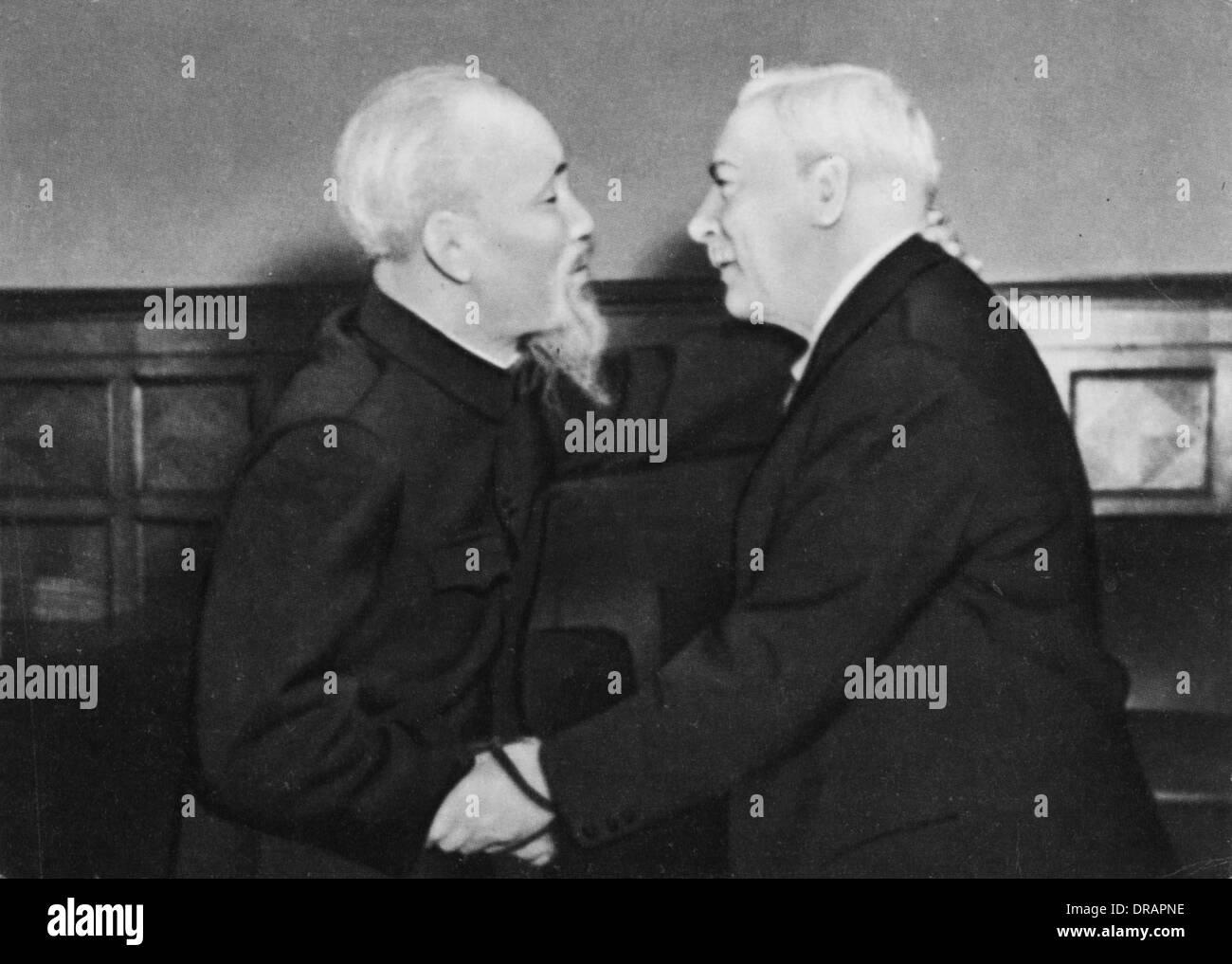Meeting of Kliment Voroshilov and Ho Chi Minh - Stock Image