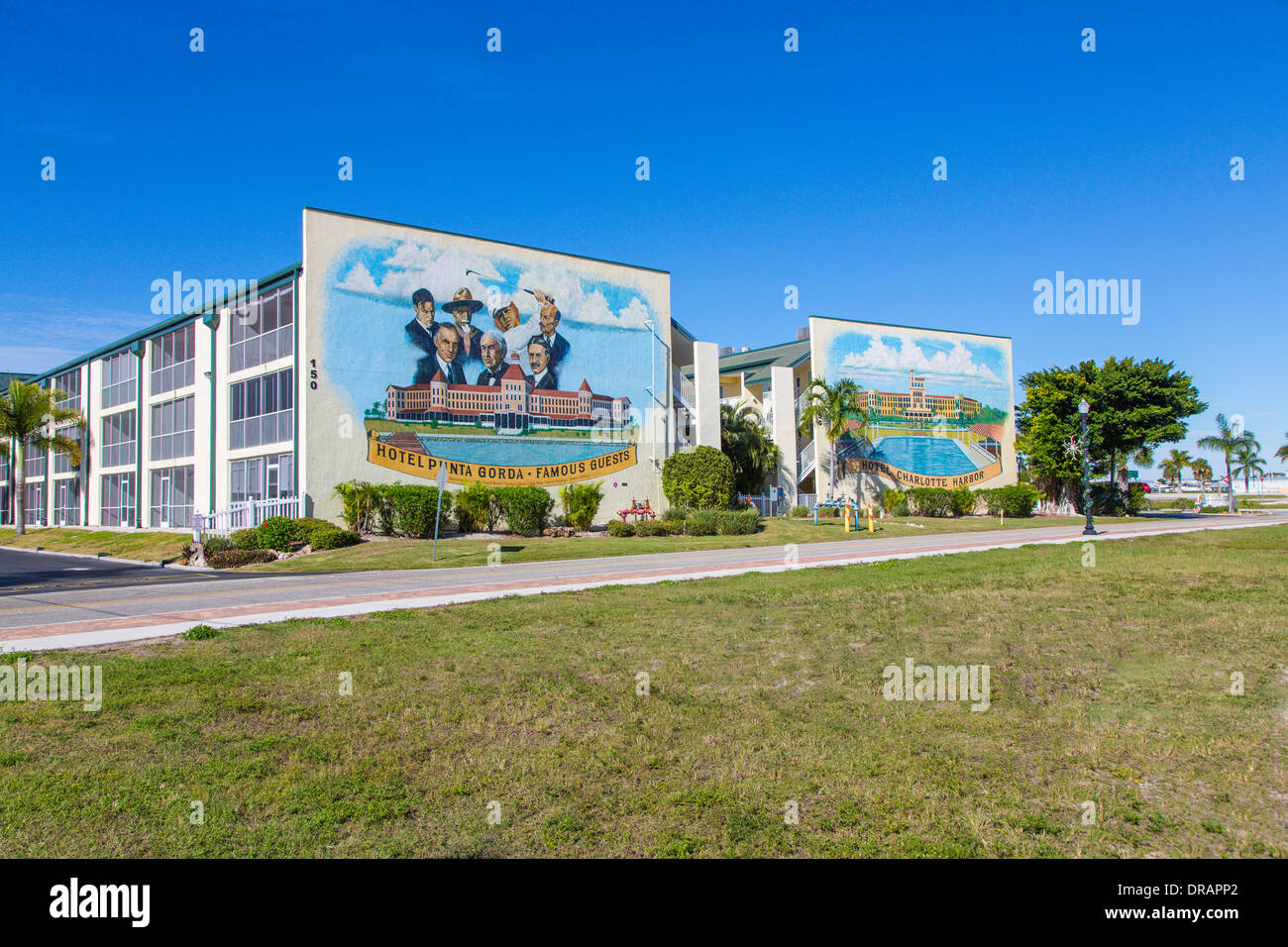 Murals painted on outdoor walls of buildings in Punta Gorda Florida - Stock Image