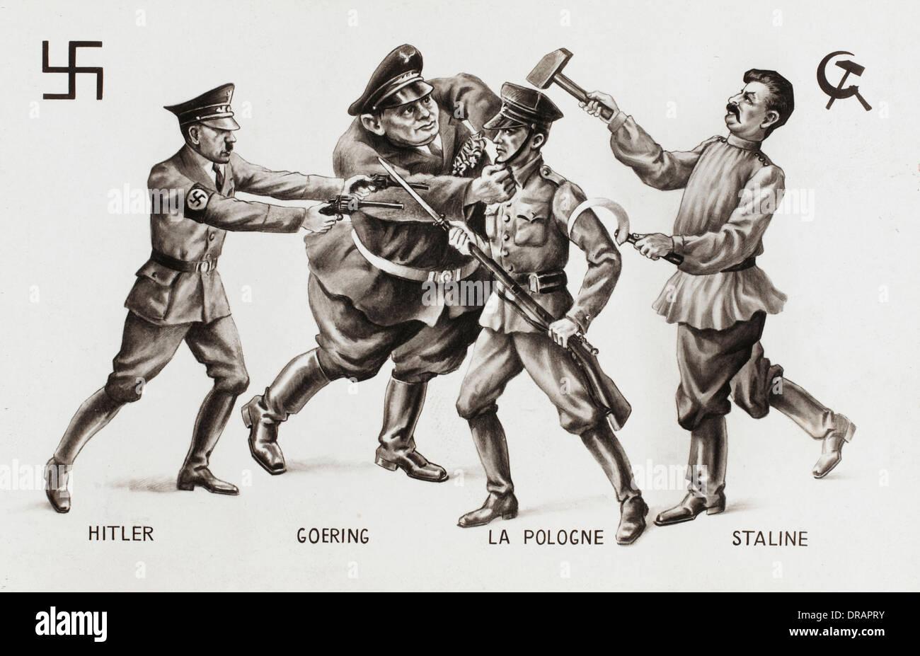Second World War cartoon -- ownership of Poland - Stock Image