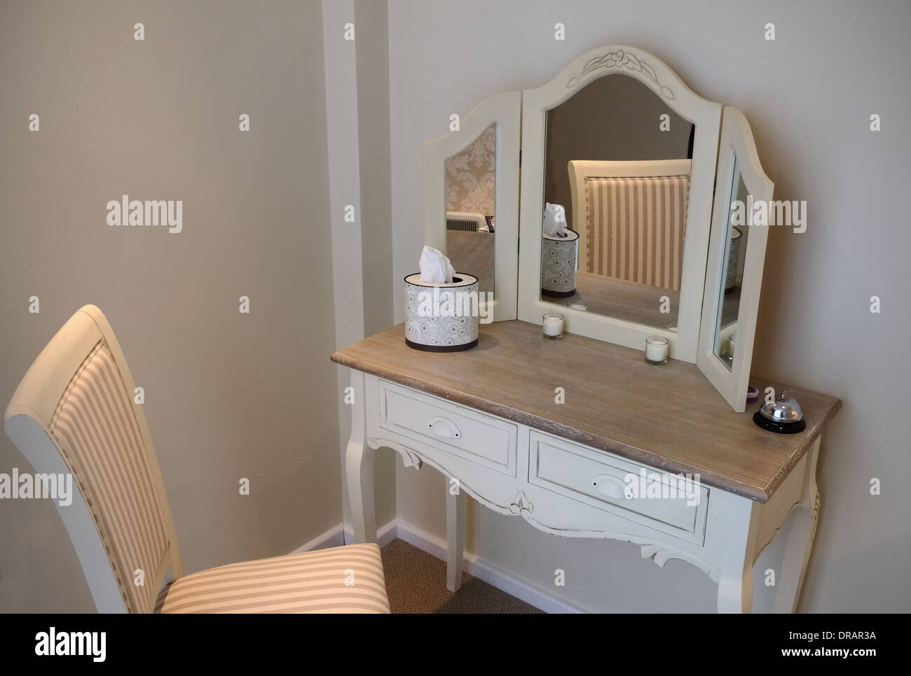 Dressing Room Table In A Wig Fitting Boutique   Stock Image