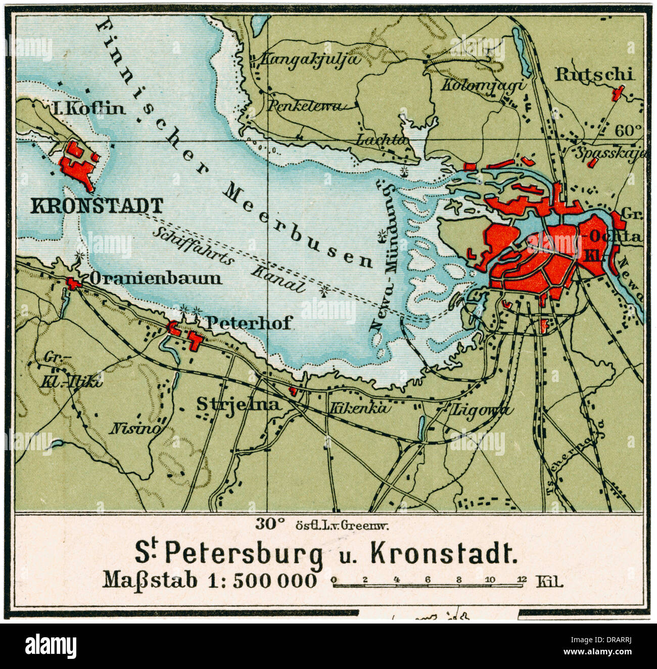 Map Of St Petersburg And Surrounding Area Russia Stock Photo