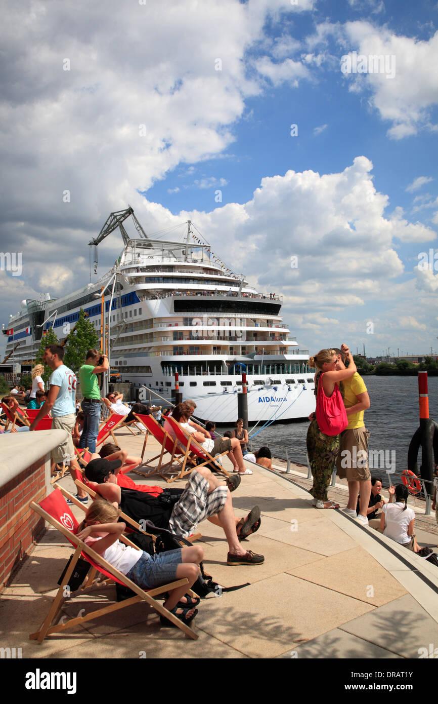 Hamburg cruise ship terminal, Hafencity, Hamburg, Germany, Europe - Stock Image