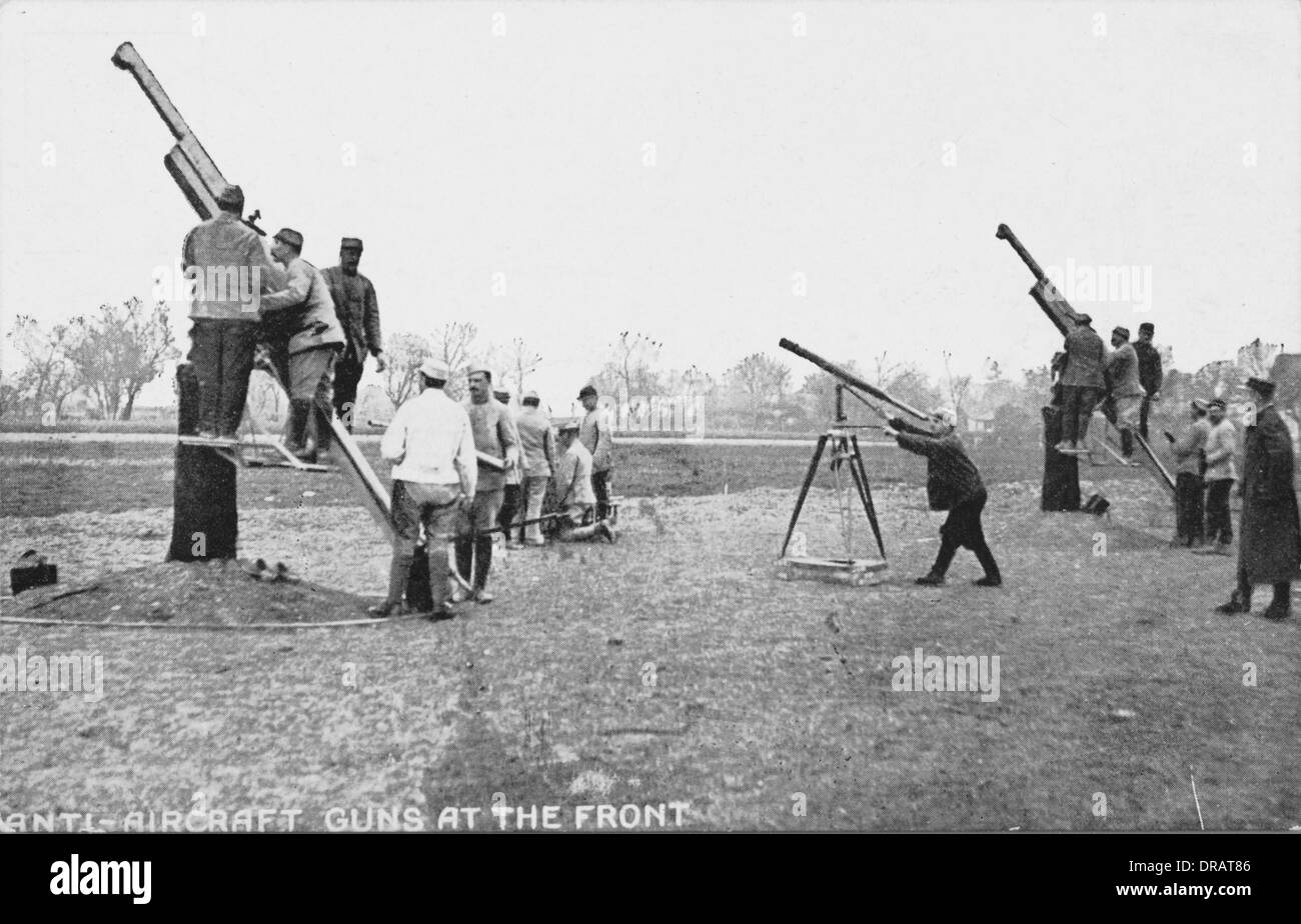 French anti-aircraft gunners - WWI - Stock Image