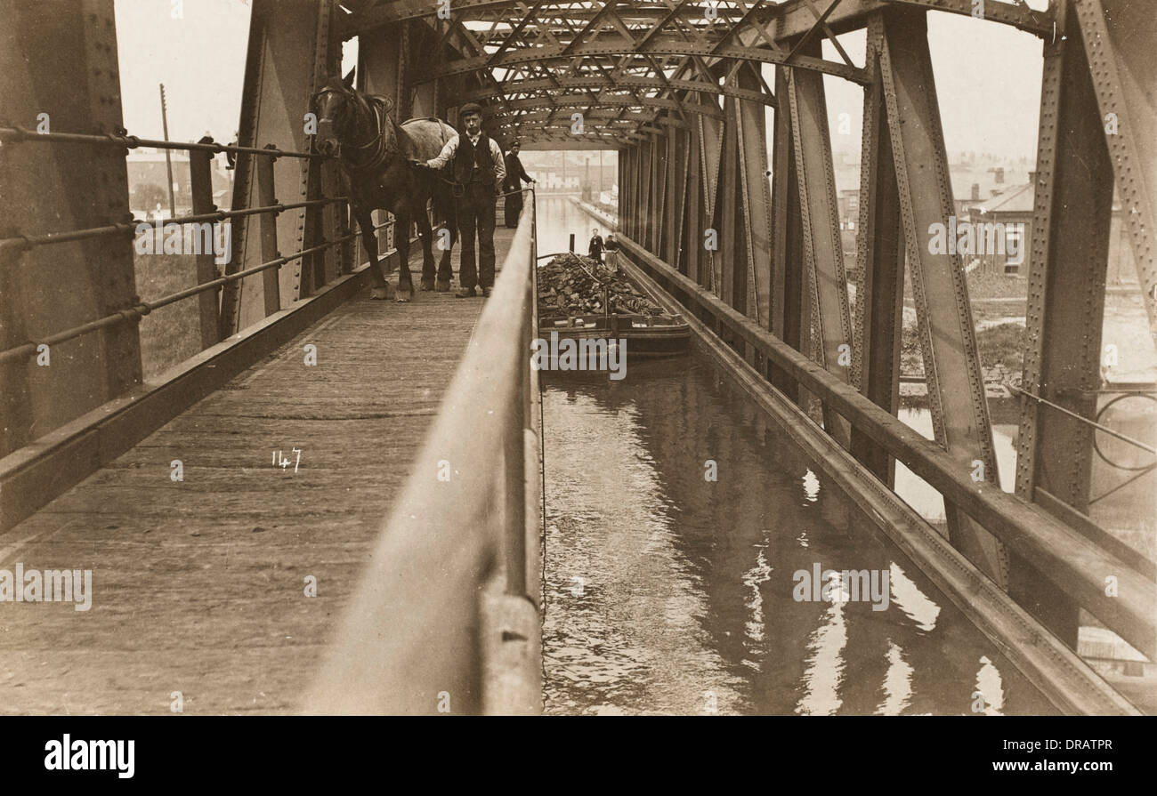 Manchester Ship Canal - The Barton Swing Aqueduct Stock Photo