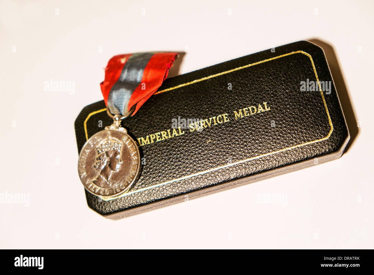 Imperial service medal  Military bravery war decoration in case royal mint - Stock Image