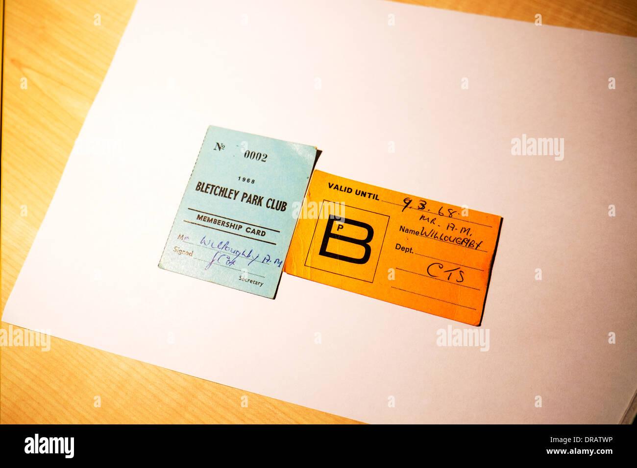 Bletchley Park club membership card 1968 original car park ticket stub Secret Intelligence and Computers Headquarters - Stock Image