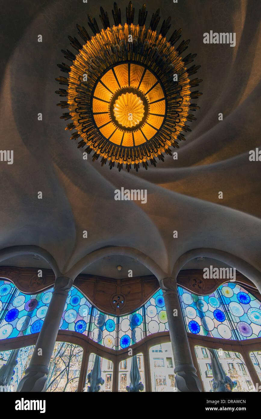 Ceiling of noble floor, Casa Batlló, Barcelona, Catalonia, Spain - Stock Image