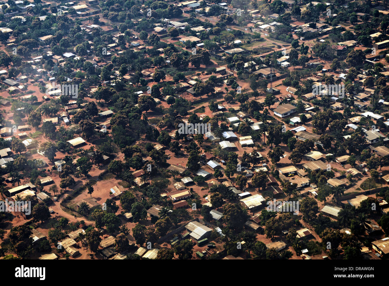 Aerial view of homes in the capital Bangui January 19, 2014 in Central Africa Republic. - Stock Image