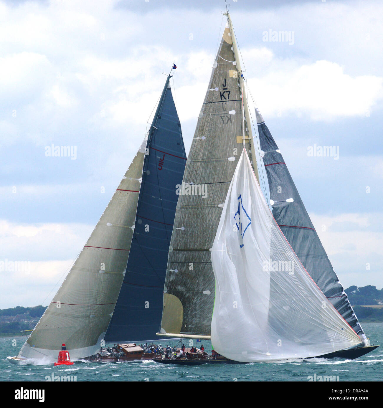 2012 J CLASS Yachts in SOLENT REGATTA - J Class - K7 Velsheda & J5 Ranger off Isle of Wight, UK Stock Photo