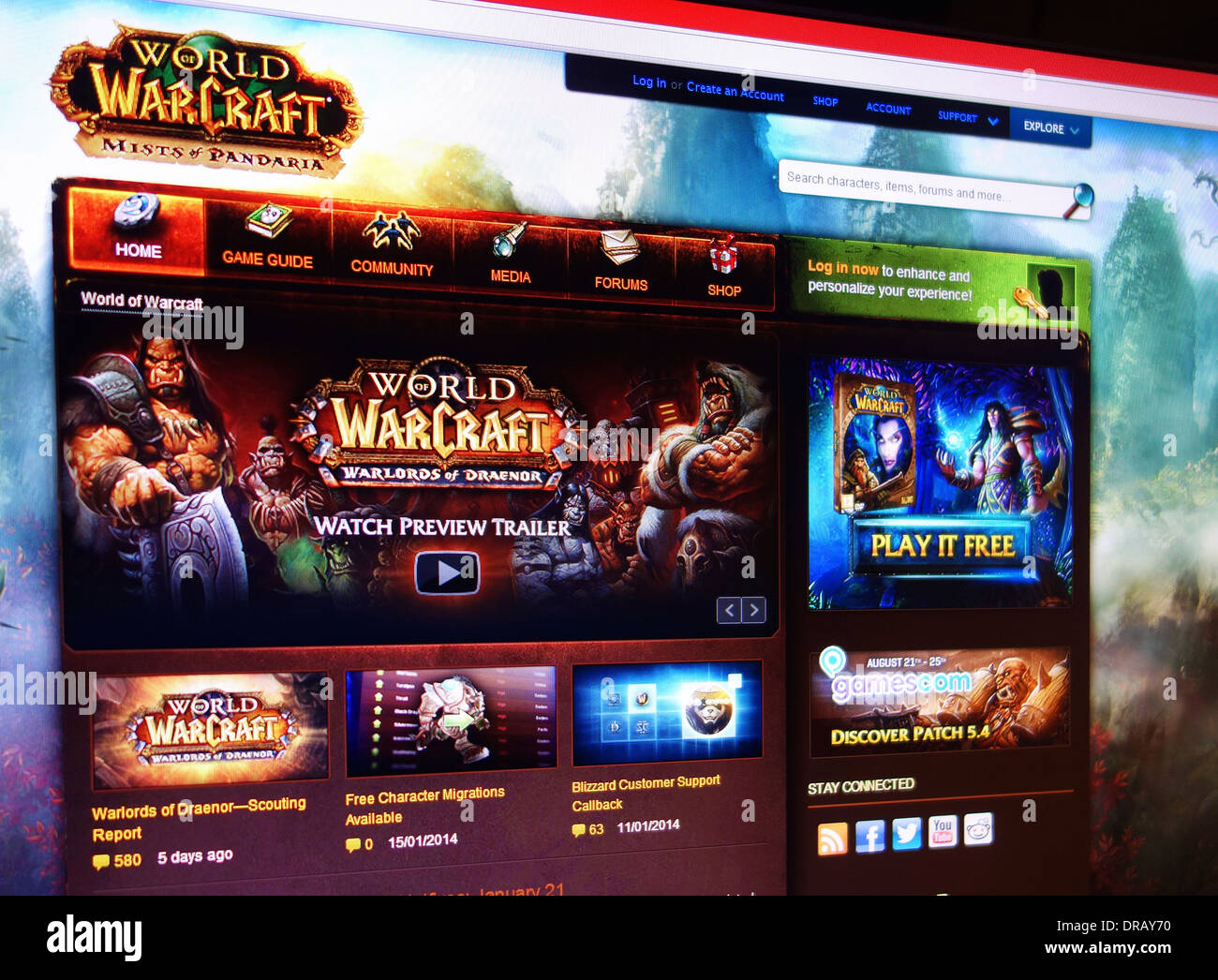 world of warcraft gaming web site - Stock Image