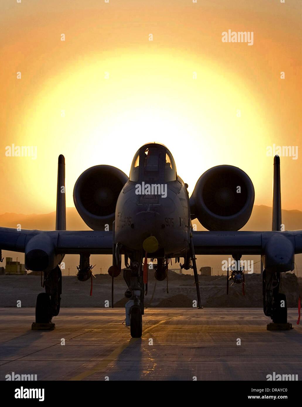 A-10 Thunderbolt II at dawn at Bagram Air Base, Afghanistan - Stock Image