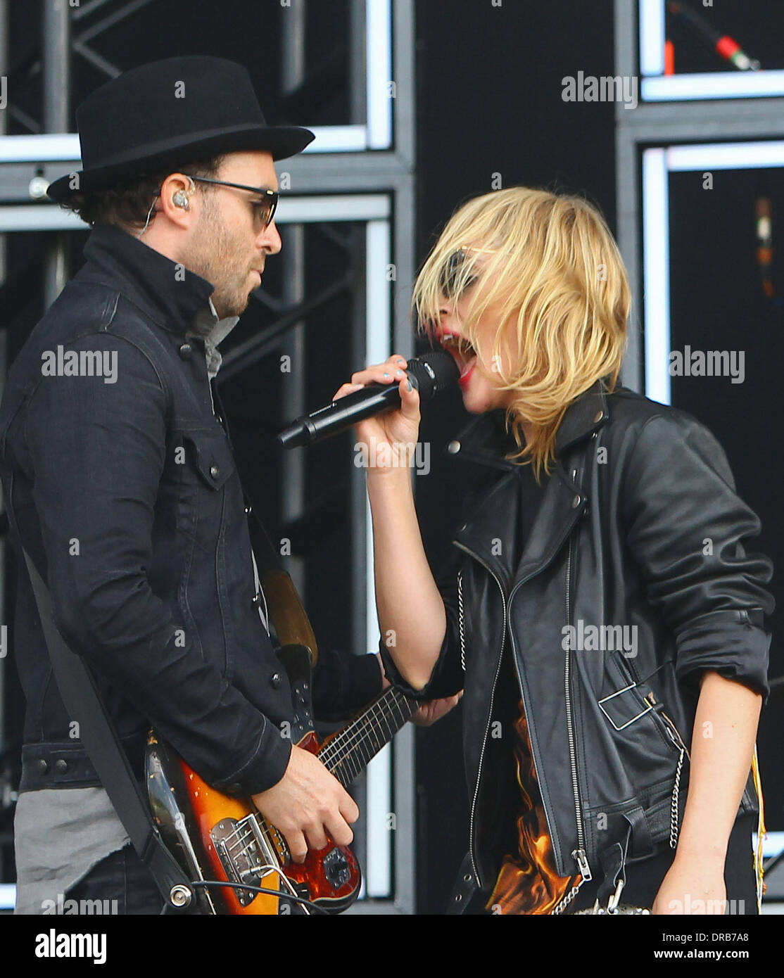 James Shaw and Emily Haines of Metric Barclaycard Wireless Festival 2012 - Day 1 London, England - 06.07.12 Stock Photo