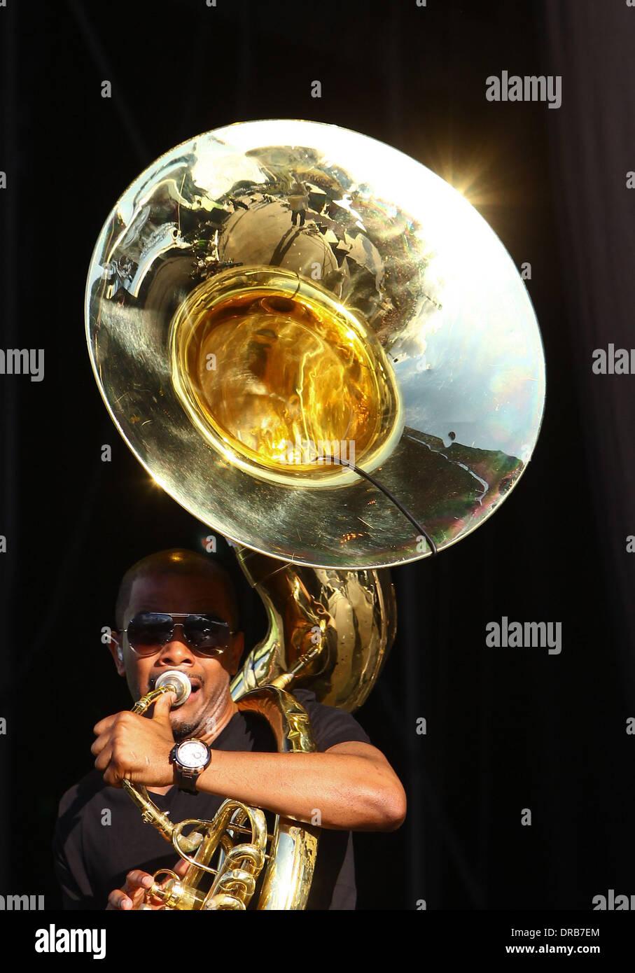 "Damon ""Tuba Gooding Jr."" Bryson of The Roots Barclaycard Wireless Festival 2012 - Day 1 London, England - 06.07.12 Stock Photo"