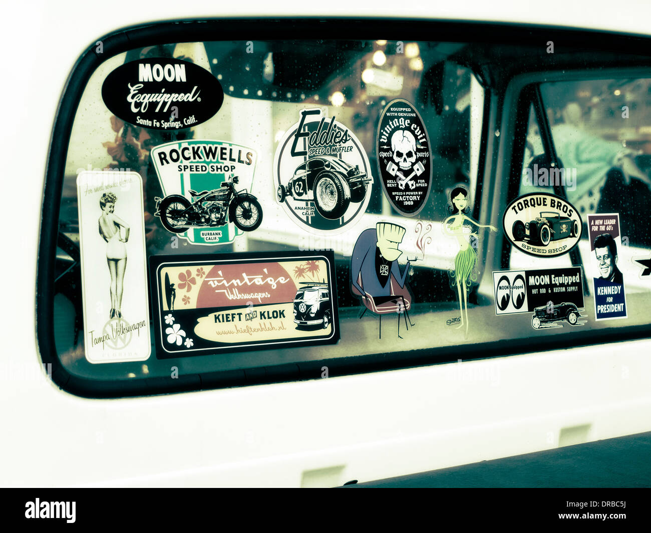 Hot rod shop window stickers on a Ford pick up truck - Stock Image