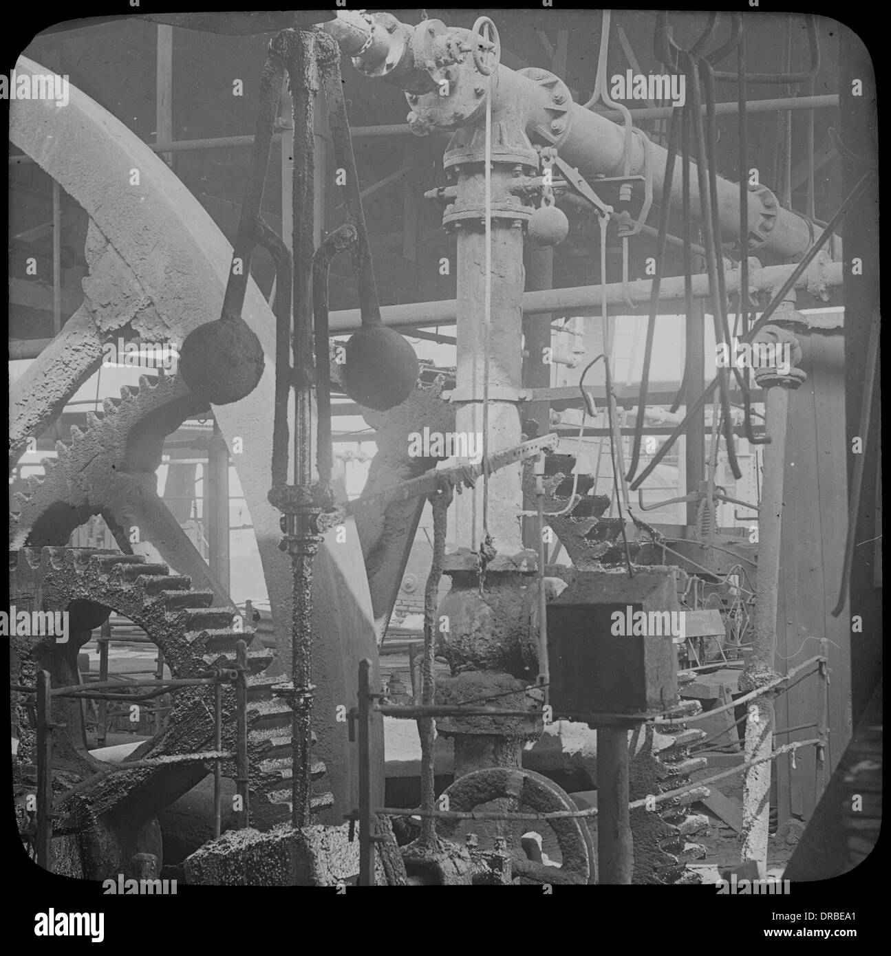 Centrifugal governor and gears of a beam engine. Labelled Johnson's Iron and Steel Co Ltd. Birmingham. - Stock Image