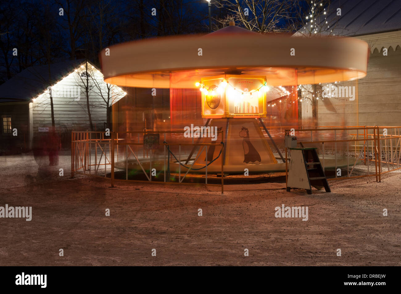 A very old carousel at Tallipiha in Tampere Finland - Stock Image