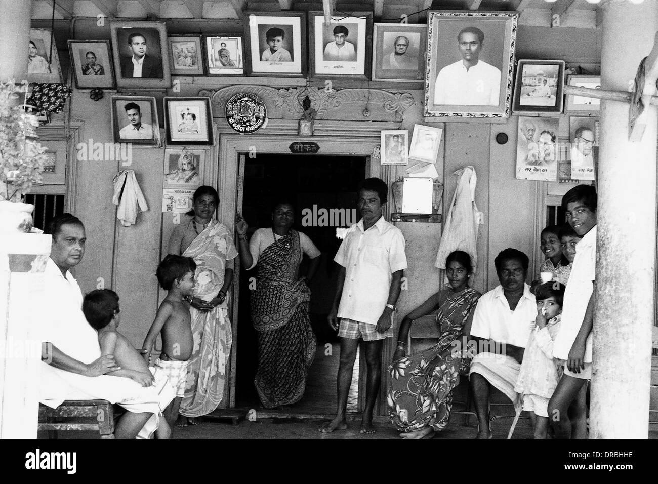 Family and ancestor photo frames, Versova, Mumbai, Maharashtra, India, 1977 - Stock Image