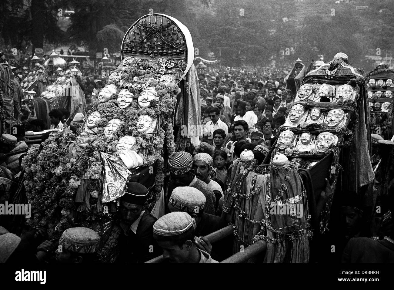 Procession of Gods on Kulu dassera festival, Himachal Pradesh, India, 1982 - Stock Image