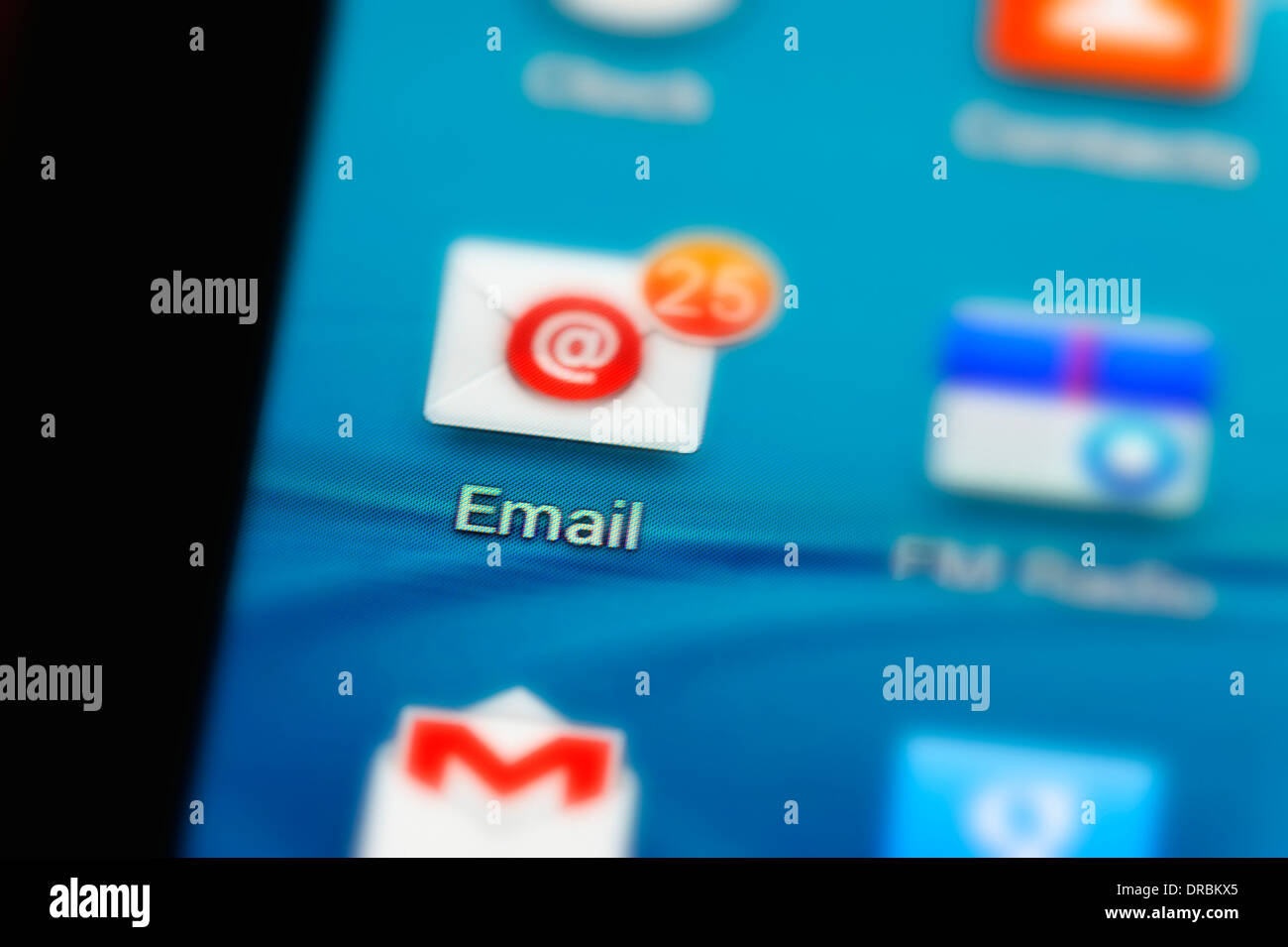 Email Application on a smart phone screen - Stock Image