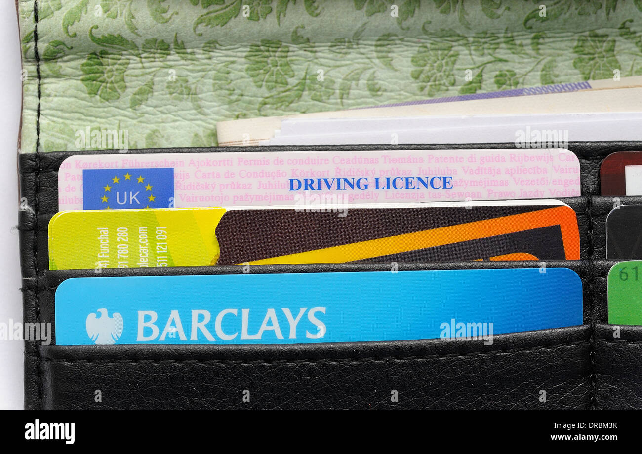 Purse with barclays debit card and driving license Stock Photo