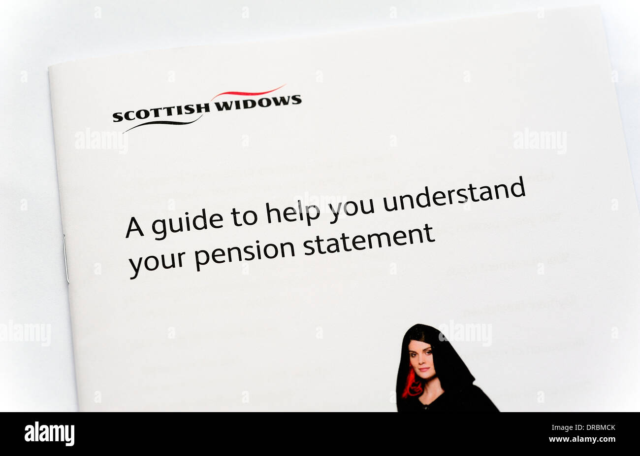 Scottish widows guide to help you understand your pension statement - Stock Image
