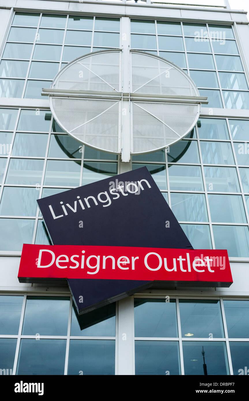Front entrance to the Designer outlet shopping mall, Livingston, Edinburgh, Scotland, UK - Stock Image