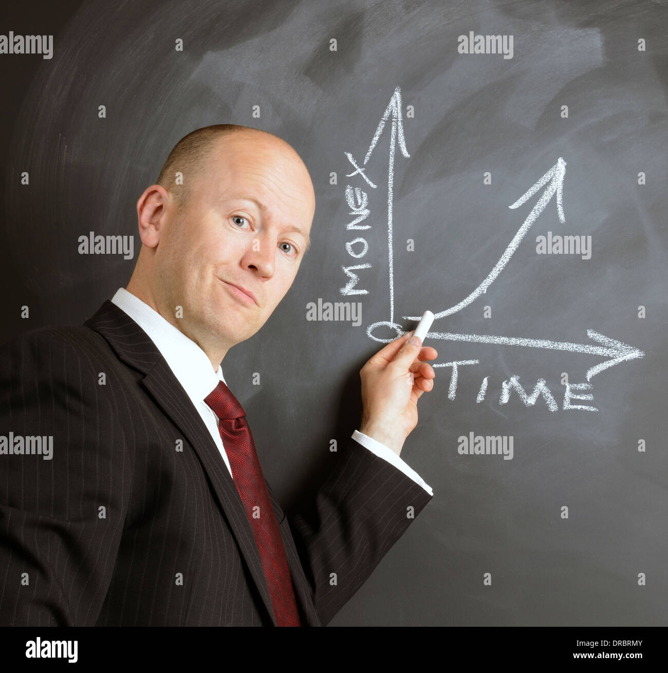 time is money graph drawn on a chalk board by a businessman - Stock Image