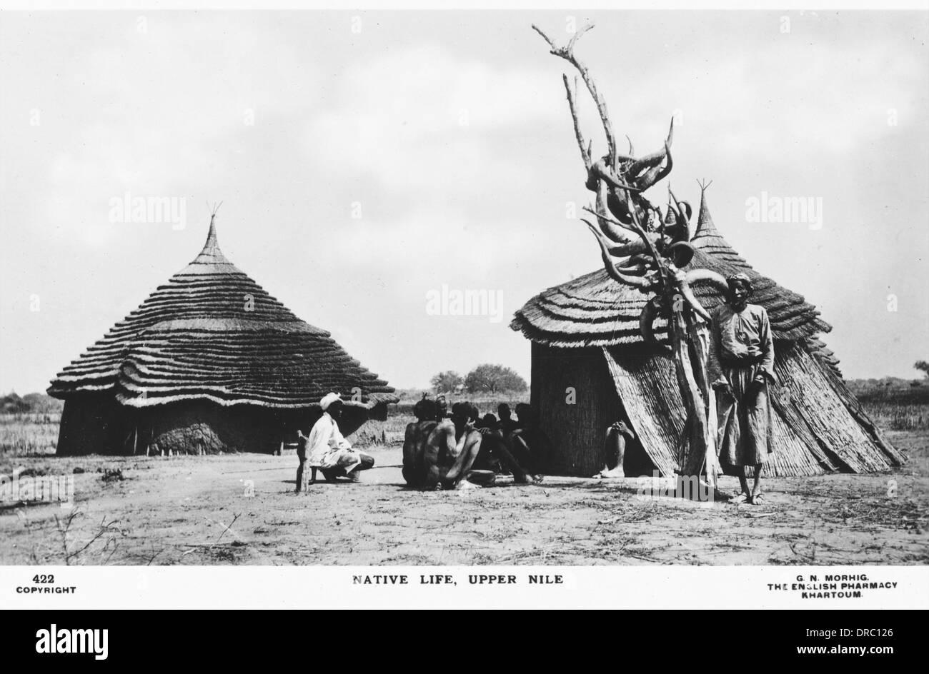 Sudanese Dinka Village - Stock Image