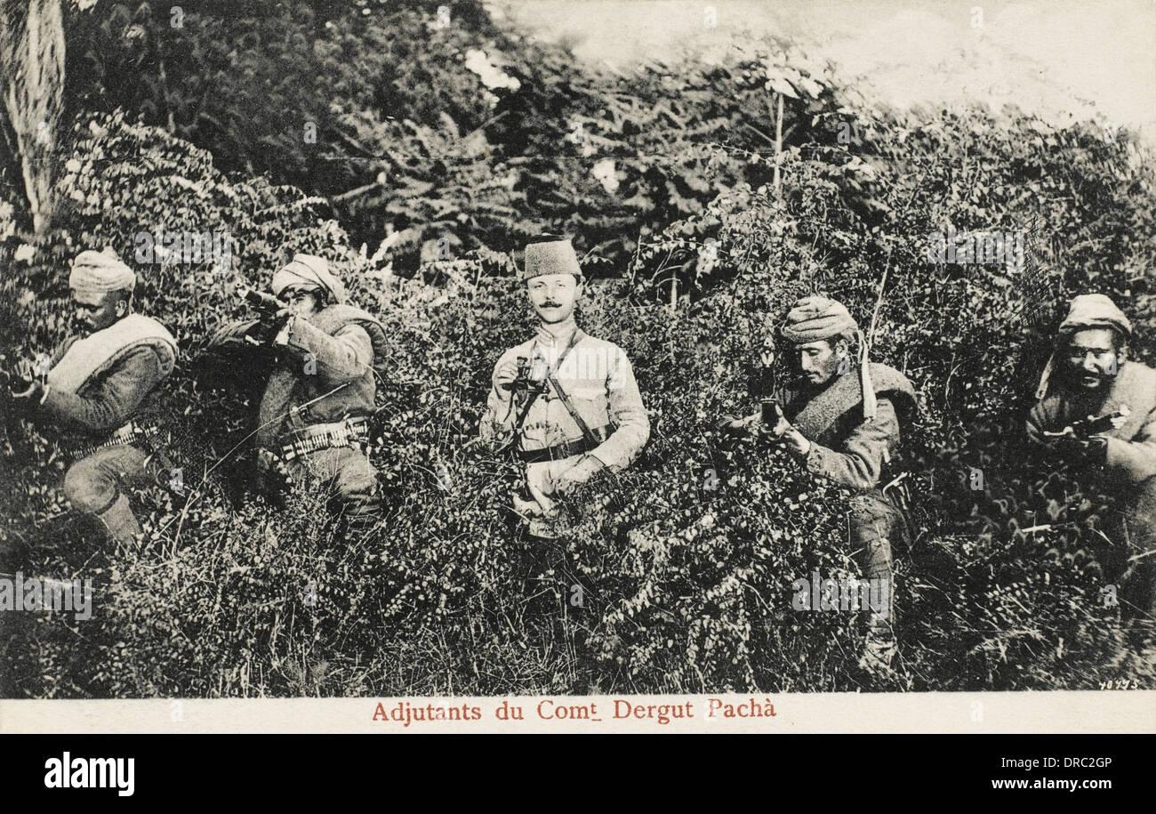 Turkish Ottoman Officer and Albanian Militia - Stock Image