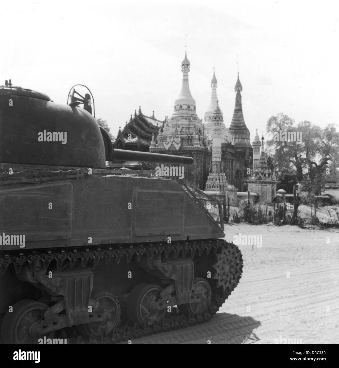 Scottish tank crew in Burma - 1945 - Stock Image