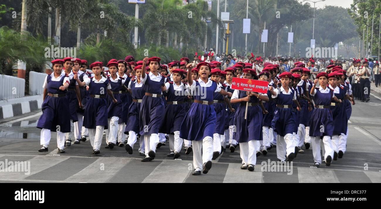Mumbai, India. 23rd Jan, 2014. Indian militiawomen rehearse for the Republic Day 2014 celebrations in Mumbai, India, Stock Photo