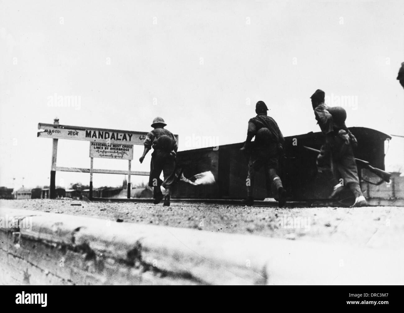 A Japanese patrol in a Mandalay Railway Yard - Stock Image