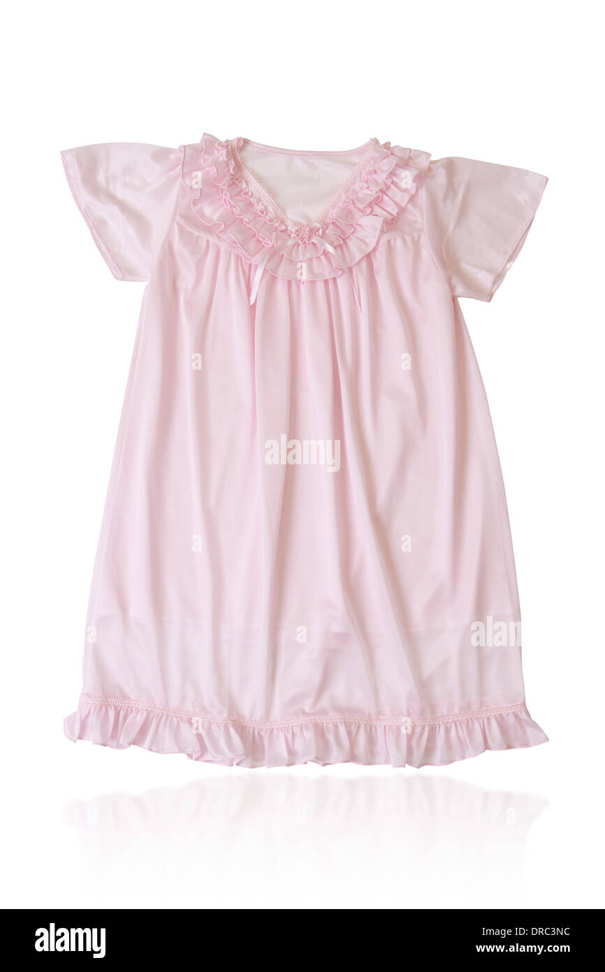 A cute pink sleepwear for girl isolated on white background - Stock Image