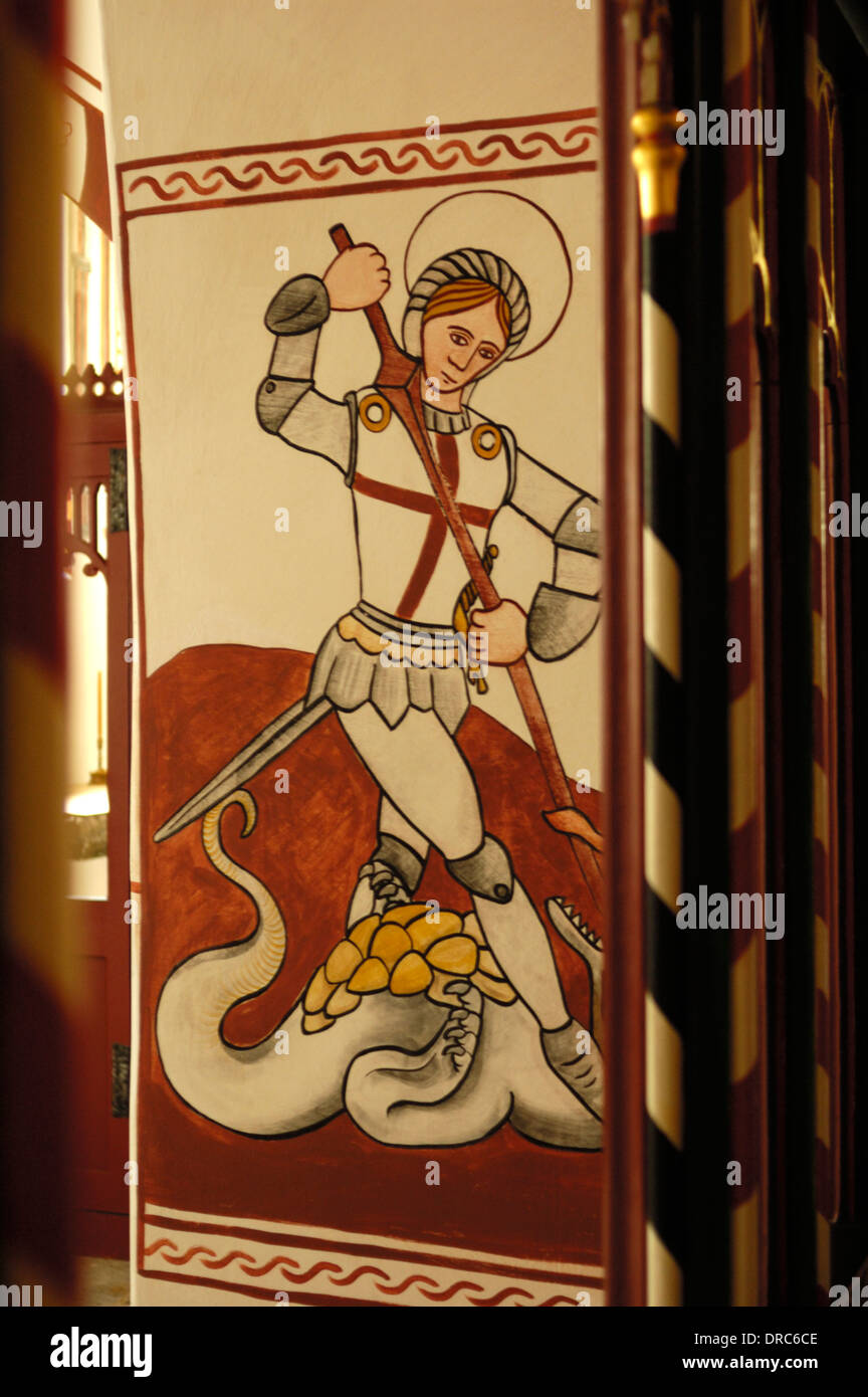 St Fagans, Saint George and Dragon Mural at St Tielo's Church Stock Photo
