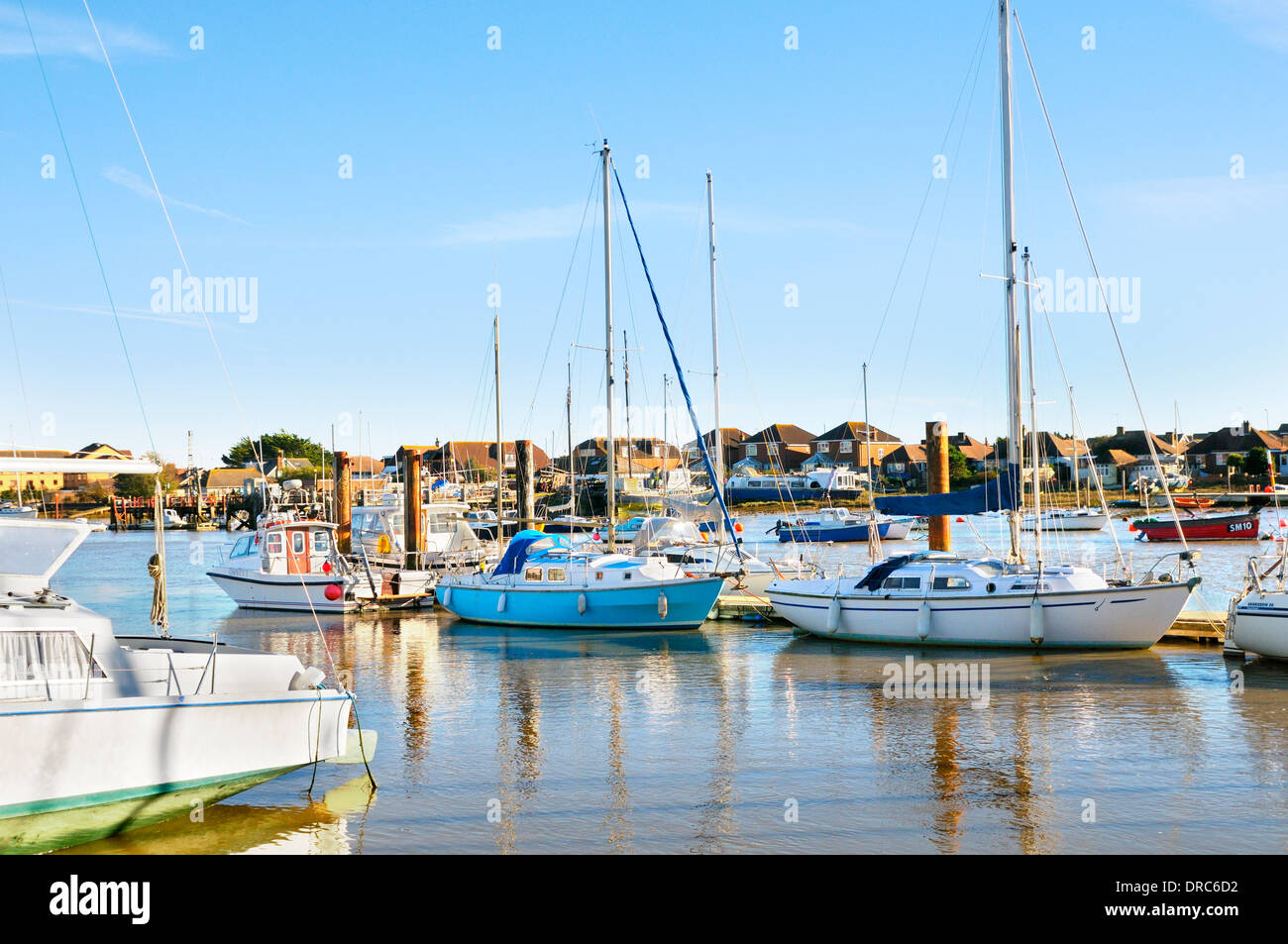 Boats on the River Adur, Shoreham-by-Sea, West Sussex, England, UK - Stock Image