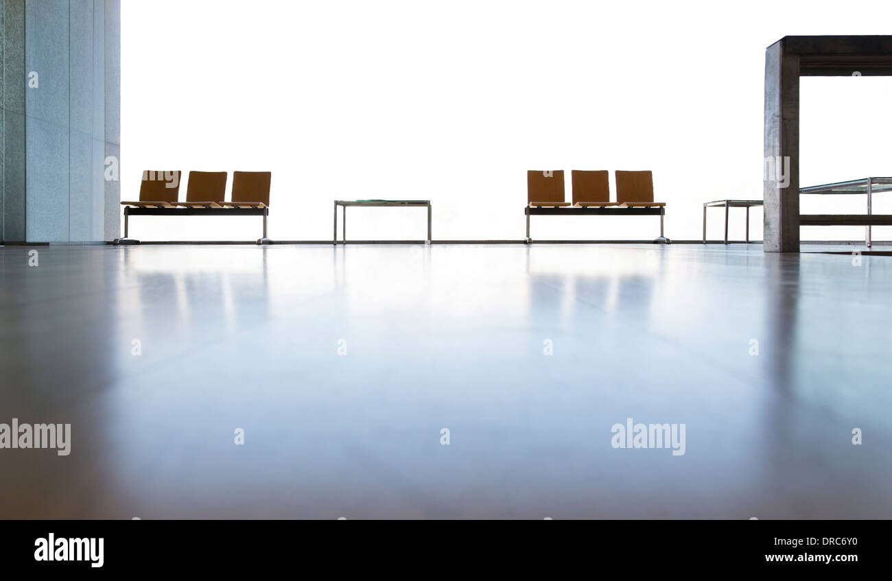 Chairs in empty lobby - Stock Image