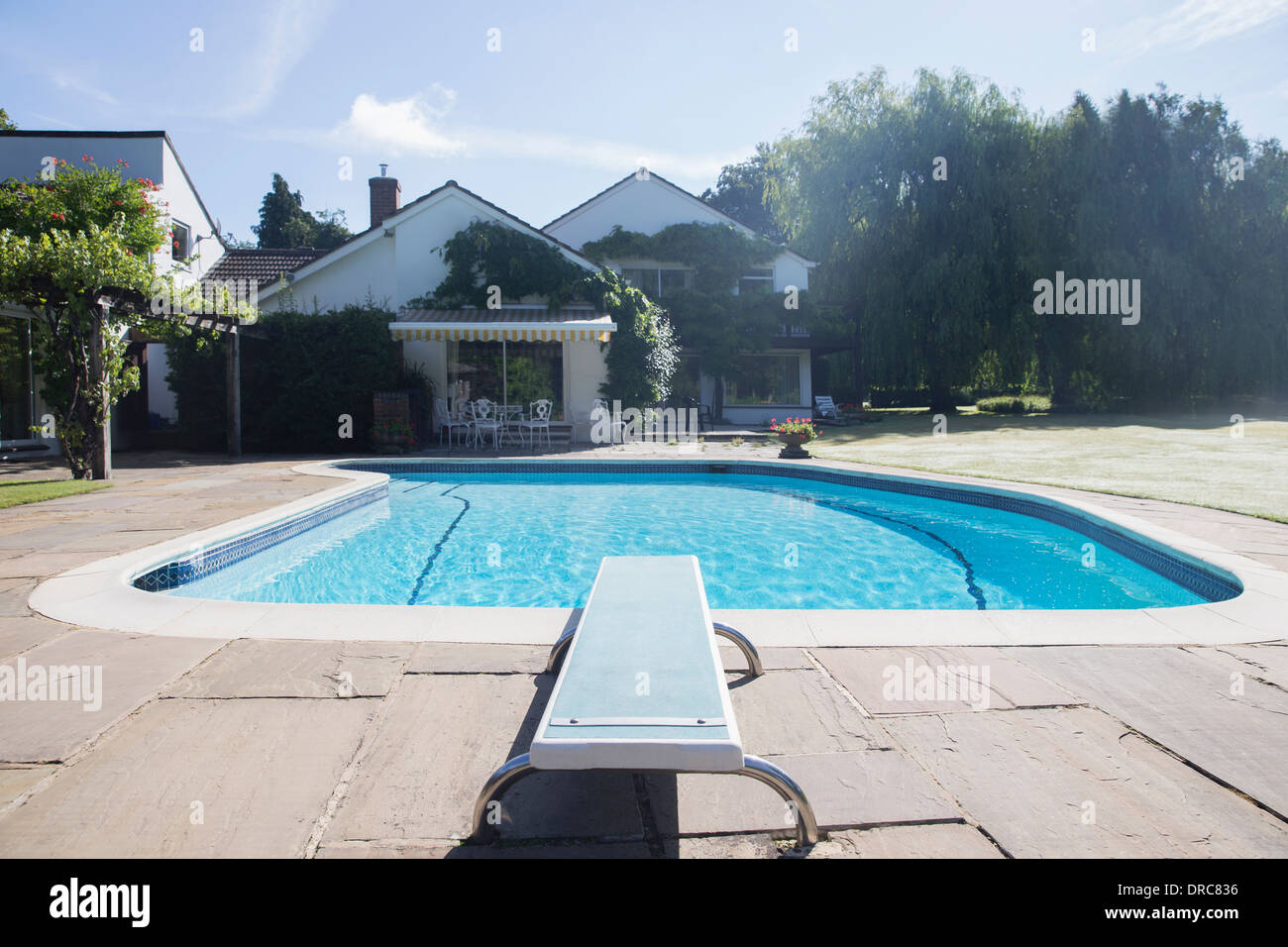 Popular Diving Board Swimming Pool No People Stock Photos & Diving Board  XX03