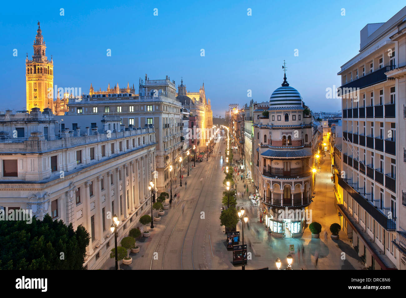 Constitution avenue and Giralda tower, Seville, Region of Andalusia, Spain, Europe, Stock Photo