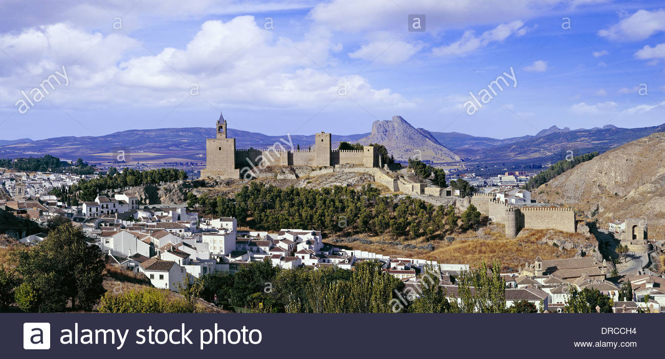 view to old fortress of antequera, andalusia, spain, europe - Stock Image
