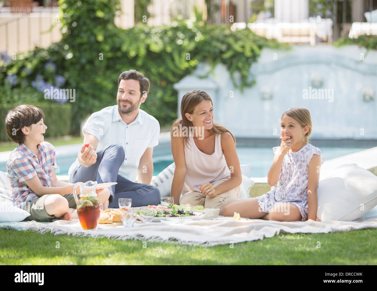 Family enjoying picnic in grass - Stock Image